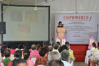 Ms.Chui Ping Lei, a senior nurse, educating the participants about EMPOWERED's cancer screening and support program