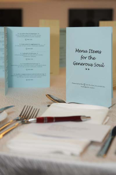 A menu for the generous souls, EMPOWERED's menu pledge cards