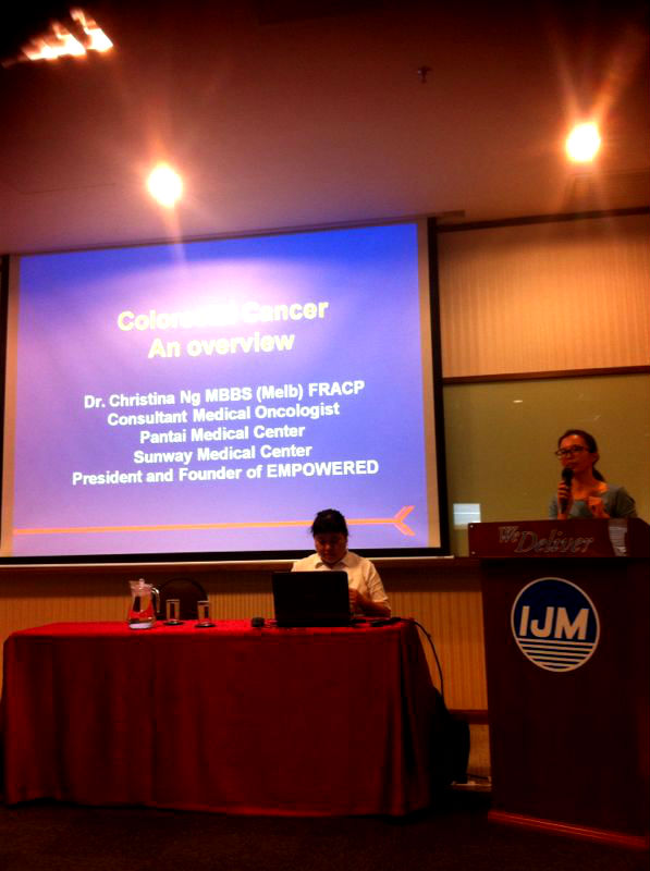 Dr. Christina Ng was the first speaker on 'Facts of Colorectal Cancer'