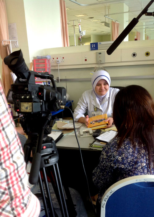 An interview ongoing with nurse Asiah